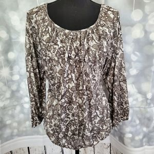 Michael Kors Gray Floral Peasant Top